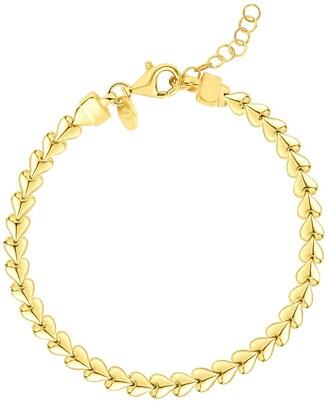 Sphera Milano 14K Yellow Gold Plated Sterling Silver Heart Detailed Bracelet