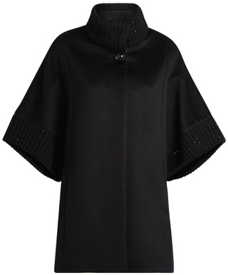 Cinzia Rocca Ribbed-Trim Wool Cape