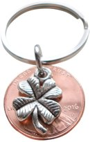 JewelryEveryday Clover Charm Layered on 2016 Penny Keychain, 1 Year Anniversary Gift, Couples Gift