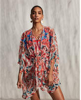 Express embroidered floral front cover-up