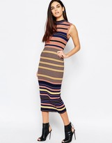 Warehouse Multi Striped Column Midi Dress