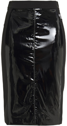 Love Moschino Paneled Vinyl And Ponte Skirt