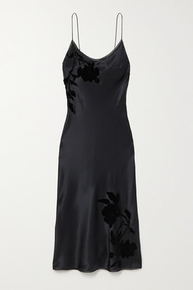 Carine Gilson Appliqued Embroidered Silk-satin Midi Dress - Black