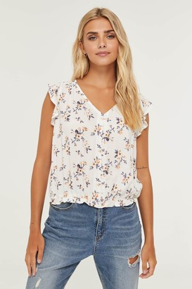 Ardene Buttoned Floral Top with Ruffle Sleeves