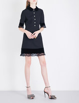 Gucci Lace-trimmed silk and wool-blend dress