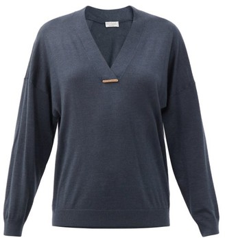 Brunello Cucinelli Monili-chain V-neck Cashmere-blend Sweater - Navy