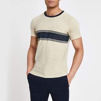 River Island Mens Selected Homme Beige chest pocket T-shirt