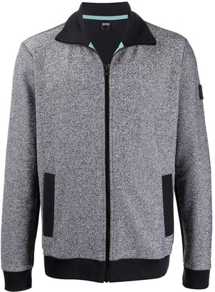 HUGO BOSS Textured Zip-Up Cardigan