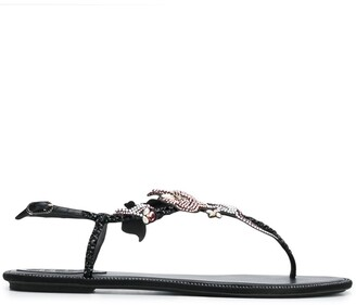 Rene Caovilla flower embellished T-bar sandals