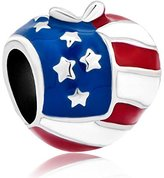 Pugster America Usa Flag Heart Love Apple Bead Fits Pandora Charms Bracelet