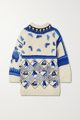 Loewe Oversized Embroidered Intarsia Wool-blend Sweater - White