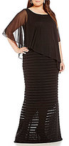 Adrianna Papell Plus Chiffon Asymmetrical-Capelet Gown