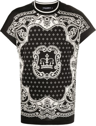 Dolce & Gabbana bandana and crown print T-shirt