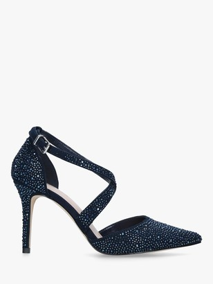 Carvela Kross Stiletto Heel Court Shoes, Navy Suedette