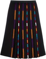 Etro stripe detail pleated skirt