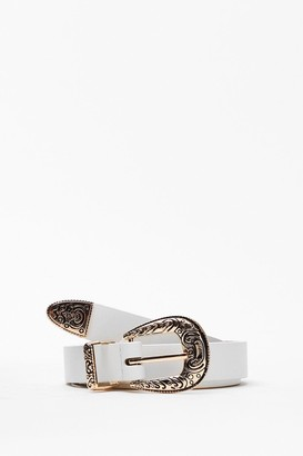 Nasty Gal Womens PU Rounded Western Belt - White