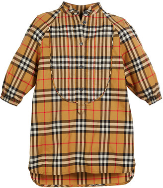 Burberry Elodie Long-Sleeve Pintucked Dress, Size 3-14