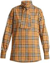 Burberry House-checked high-neck cotton shirt