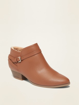 Old Navy Faux-Fur-Lined Ankle-Strap Boots for Women