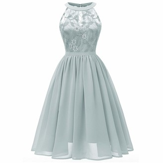 W/B Elegant Women Vintage Floral Lace Wedding Bridesmaid Dress Sleeveless Cocktail Party A-line Swing Dresses Formal Evening Prom Ball Gown Gray