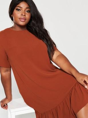AX Paris Curve Drop Hem Plain Dress - Rust