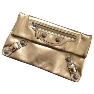 Balenciaga Classic Metalic Gold Leather Clutch bags