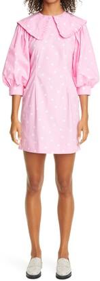 Ganni Polka Dot Print Organic Cotton Dress
