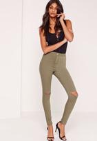 Missguided High Waisted Slash Knee Skinny Jeans Khaki