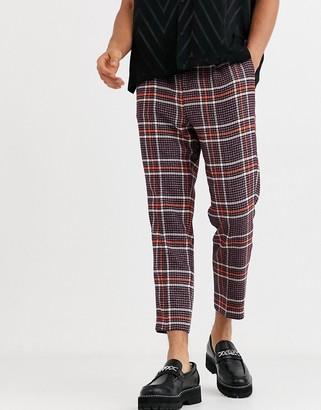 ASOS DESIGN skinny smart pants in wool mix check in purple