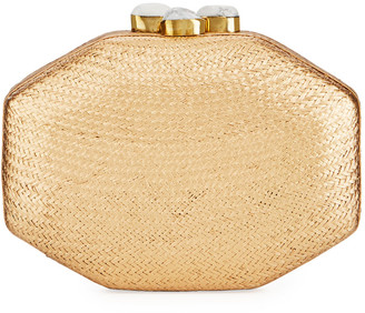 Rafe Sofia Straw Clutch Bag, Gold