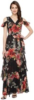 Tahari by ASL Floral Cold Shoulder Chiffon Gown