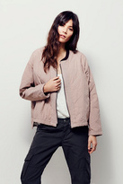 Free People Womens QUILTED AVIATOR JACKET