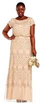 Adrianna Papell Short Sleeve Beaded Blouson Gown.