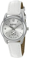 August Steiner Women's AS8021WT Silver Swiss Quartz Watch with Silver Sunray Dial and White Leather Strap