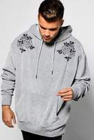 boohoo Embroidered Velour Oversized Over The Head Hoodie