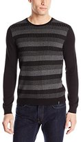Calvin Klein Men's Cotton Modal Novelty Striped Crew Neck Sweater
