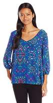 My Michelle Women's Criss Cross Strap Back Printed Blouse with Studded Neckline
