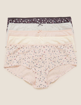 Marks and Spencer 5pk Cotton Lycra Daisy Print Low Rise Shorts