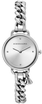 BCBGMAXAZRIA Ladies Round Stainless Steel Chain Bracelet with Crystal Charm Watch, 26mm