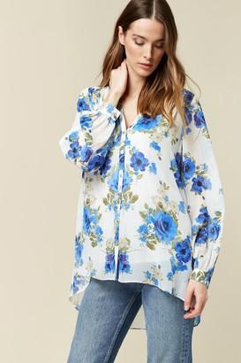 Wallis Cream Floral Print Shimmer Shirt