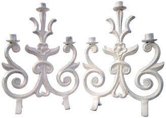 One Kings Lane Vintage White Wrought Iron Candelabra - Set of 2 - Osprey Blu