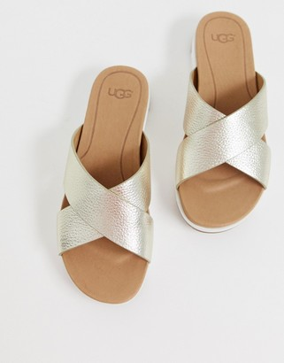 UGG Kari cross strap slides in gold