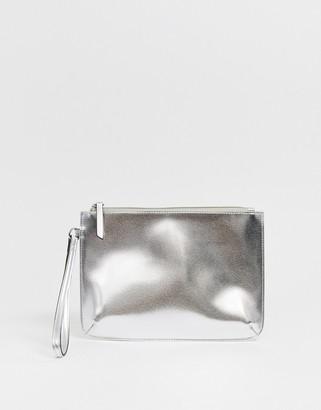 Asos Design DESIGN zip top wristlet clutch bag in metallic-Silver