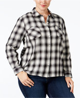 Style&Co. Style & Co Plus Size Mixed-Print Plaid Shirt, Only at Macy's