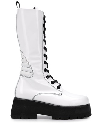 MSGM Stitching Detail Platform Boots