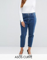 Asos Farleigh Mom Jean In Courtney Flat Blue