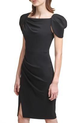 Calvin Klein Square Neck Puff Sleeve Sheath Dress