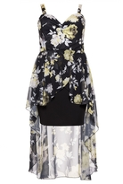 Quiz Curve Black and Yellow Floral Print Dip Hem Dress