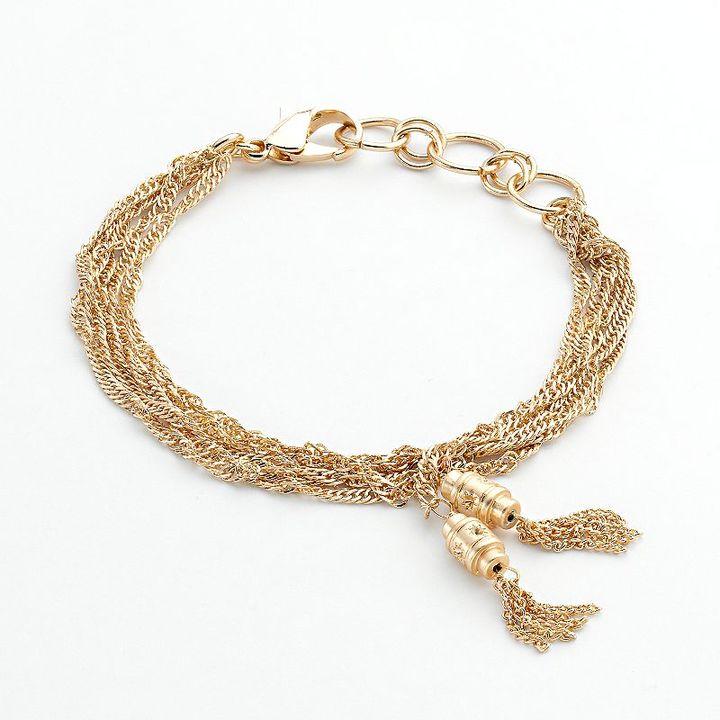 Lauren Conrad gold tone multistrand tassel bracelet