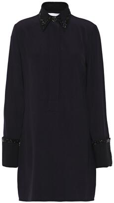 Victoria Victoria Beckham Bead-embellished Satin-crepe Mini Shirt Dress